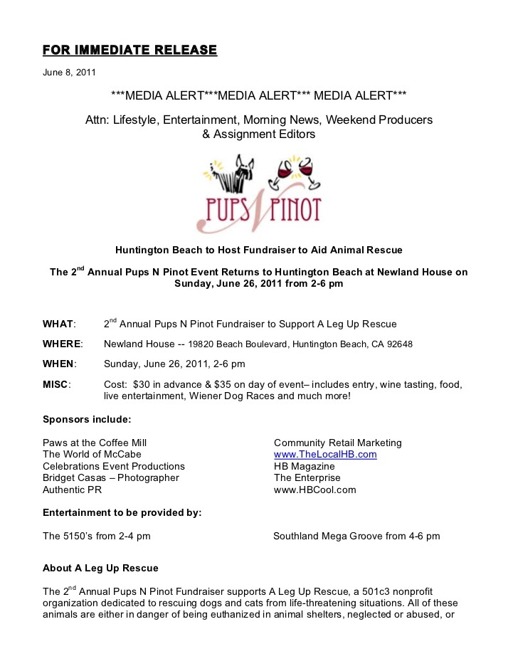 Pups N Pinot press release