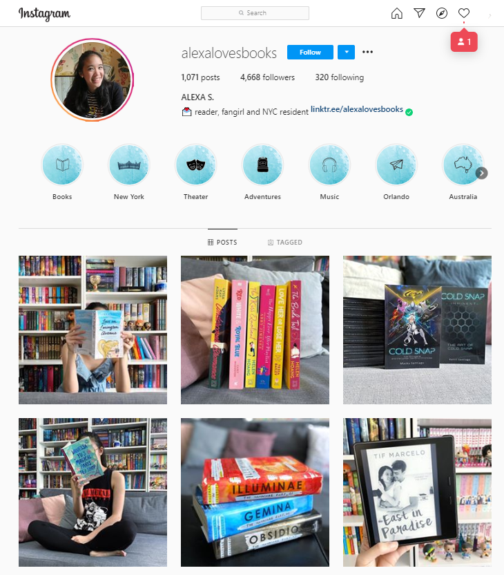 Example of a book blog (Alexa Loves Books) on instagram