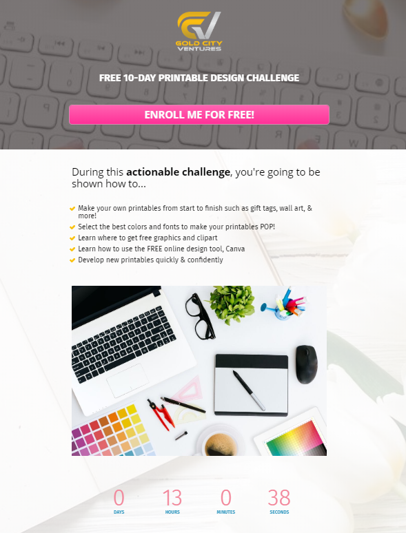 Example of a landing page for a printable design challenge