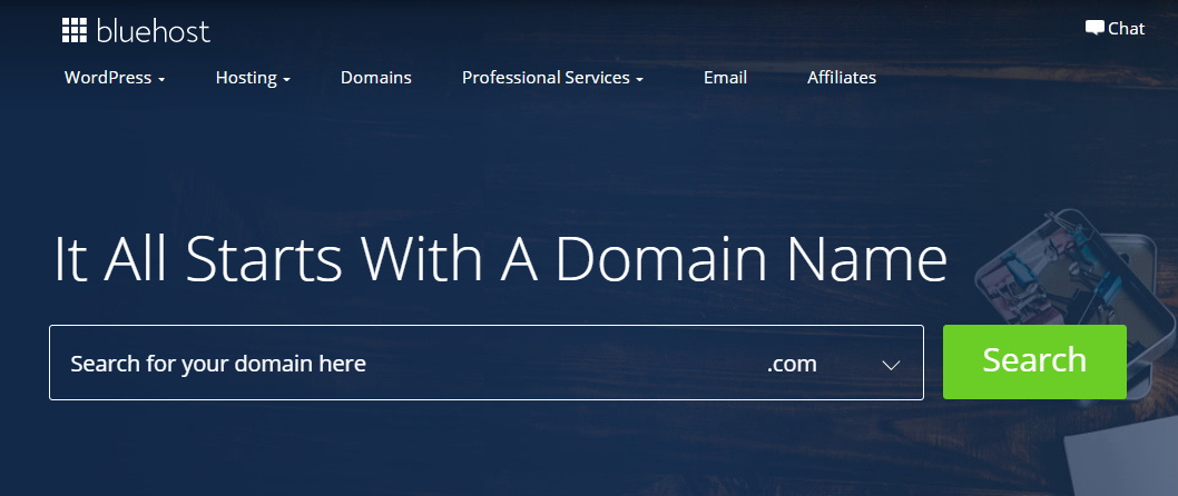 Finding a domain name on Bluehost interface