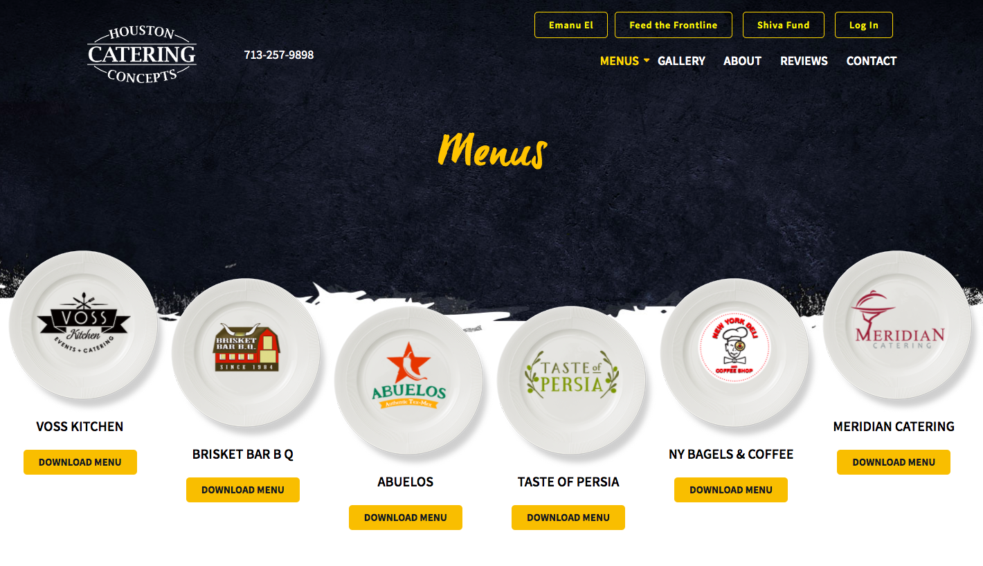 Houston Catering Concepts Website Example