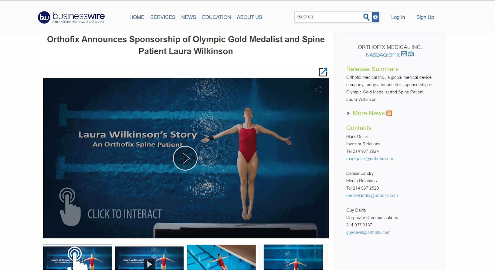 Orthofix Interactive Press Release Example