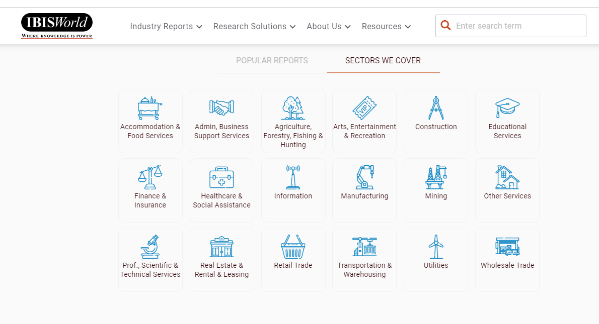 IBISWorld research reports for most industries