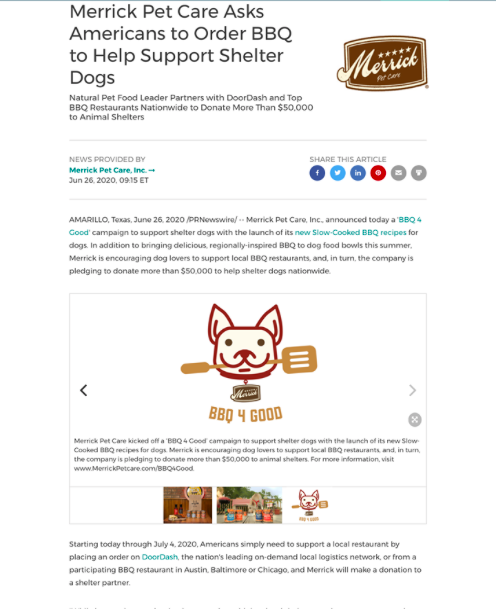 Merrick Pet Care's example of multimedia and interactive press release