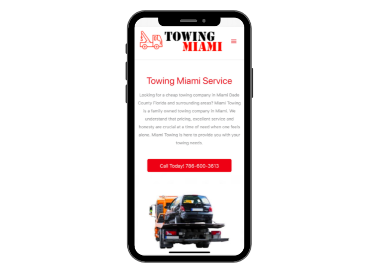 Mobile UX Design Example - Miami Towing site