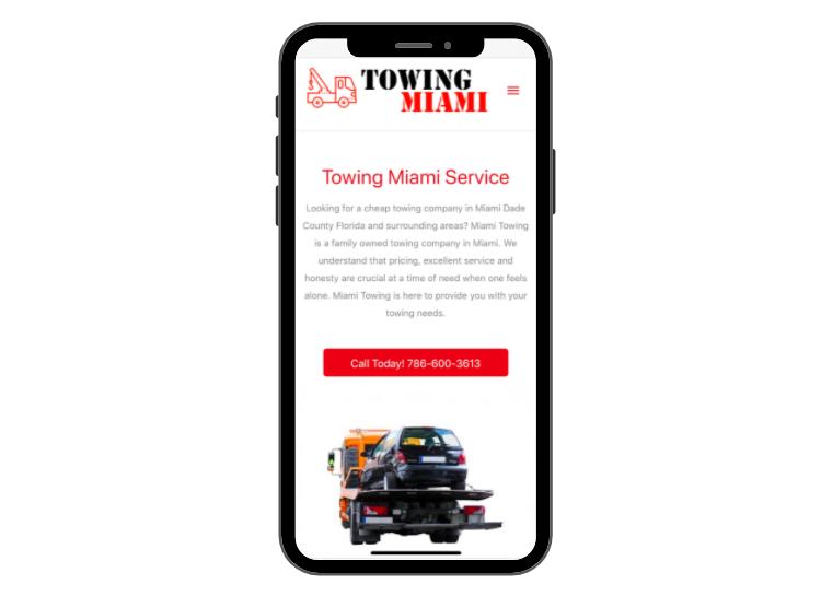 Mobile UX Design Example - Miami Towing site