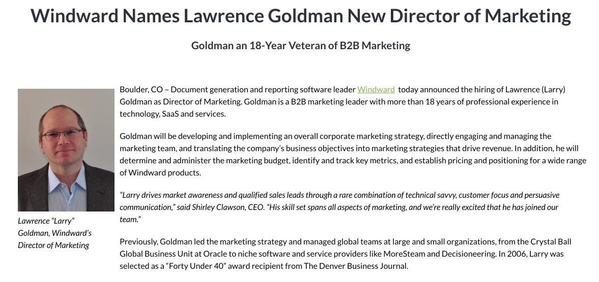 New Hire press release for Lawrence Goldman as New Director of Marketing for Windward