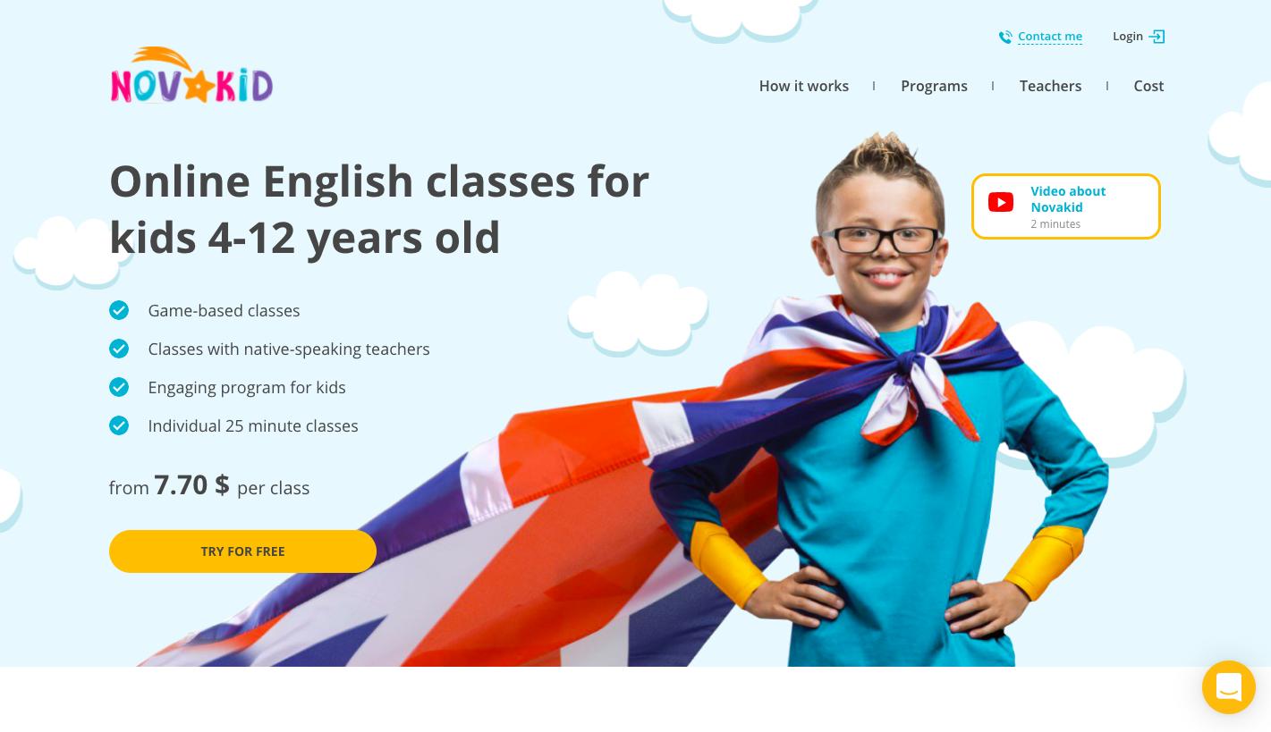 Novakid Website Example