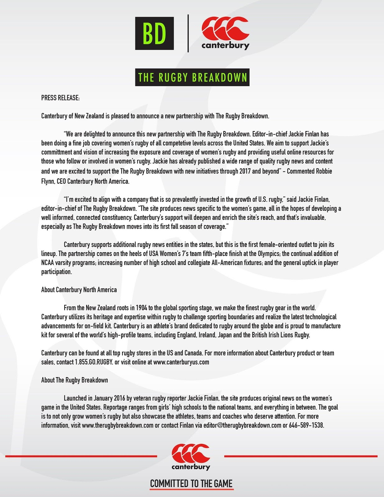 Partnership Press Release for Canterbury and The Rugby Breakdown