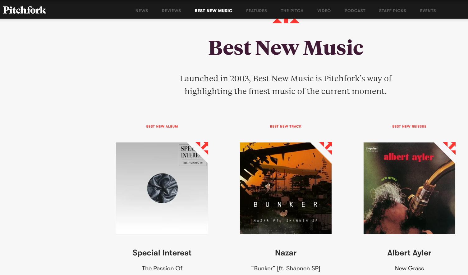 Pitchfork music blog best new music section