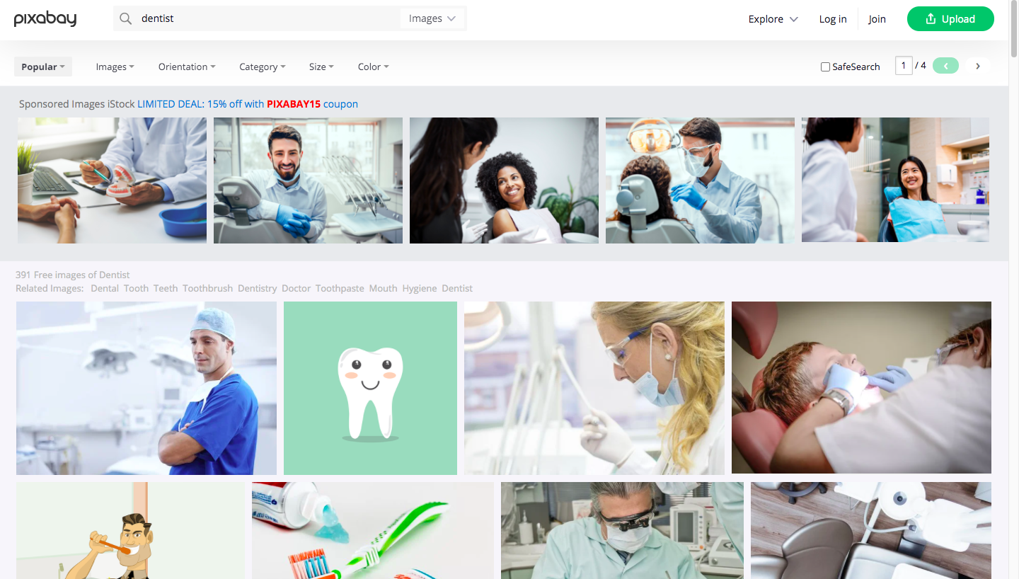 "Pixabay Search For ""Dentist"" Example"