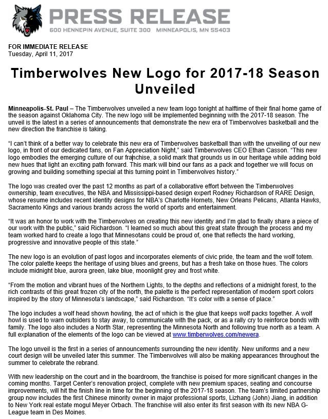 Press release for Timberwolves new logo