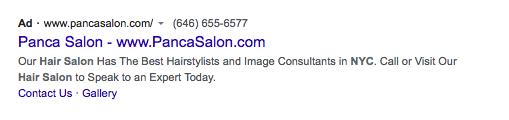 Panca Salon Google Ad