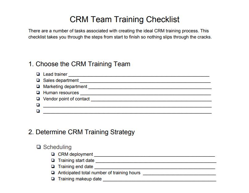 CRM Team Training Checklist
