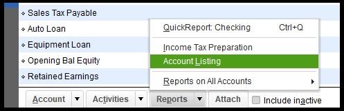 Display Account Listing