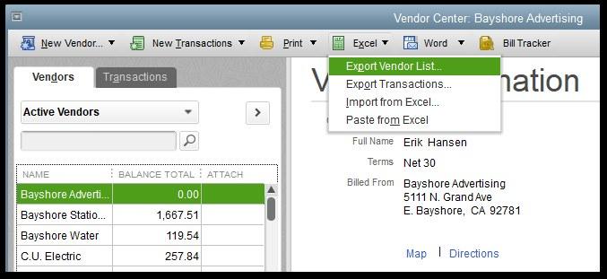 Export Vendor List