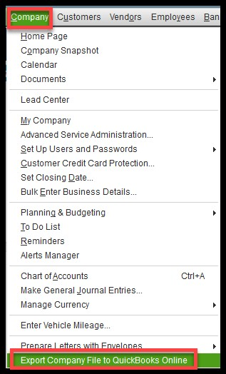 How to Export your Company File from QuickBooks Desktop to Online