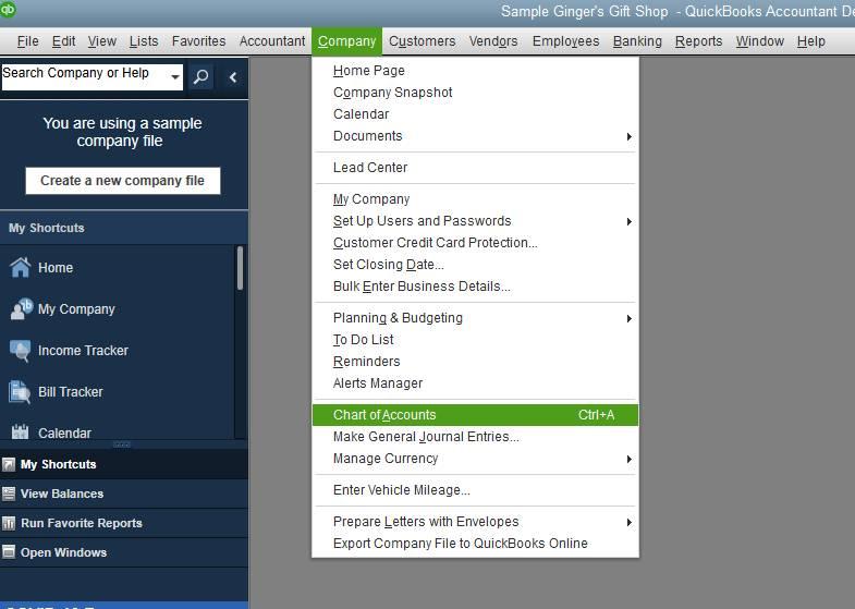 Navigating to Chart of Accounts in QuickBooks Desktop