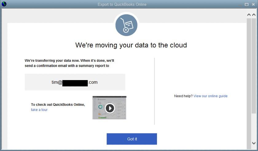 QuickBooks Data file transfer confirmation