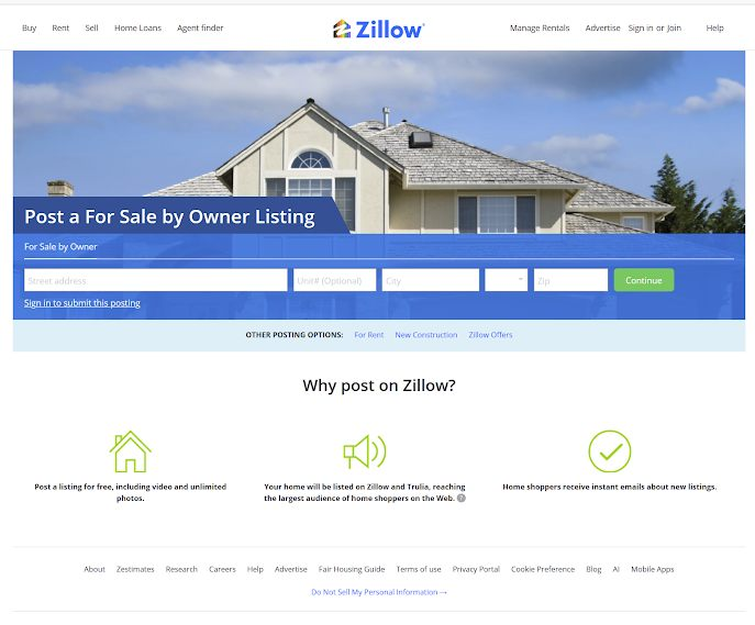 Zillow Homepage