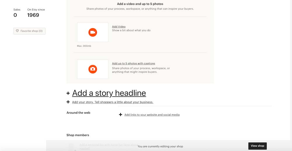 Screenshot of Adding a Story Headline Behind the Brand