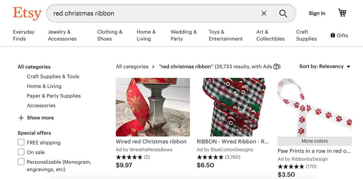 Screenshot of Red Christmas Ribbon Search