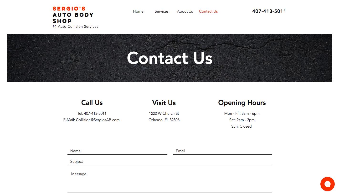 Sergio's Auto Body Shop Website Design
