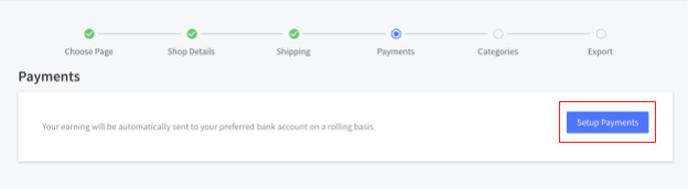Screenshot of Setting Up Payments