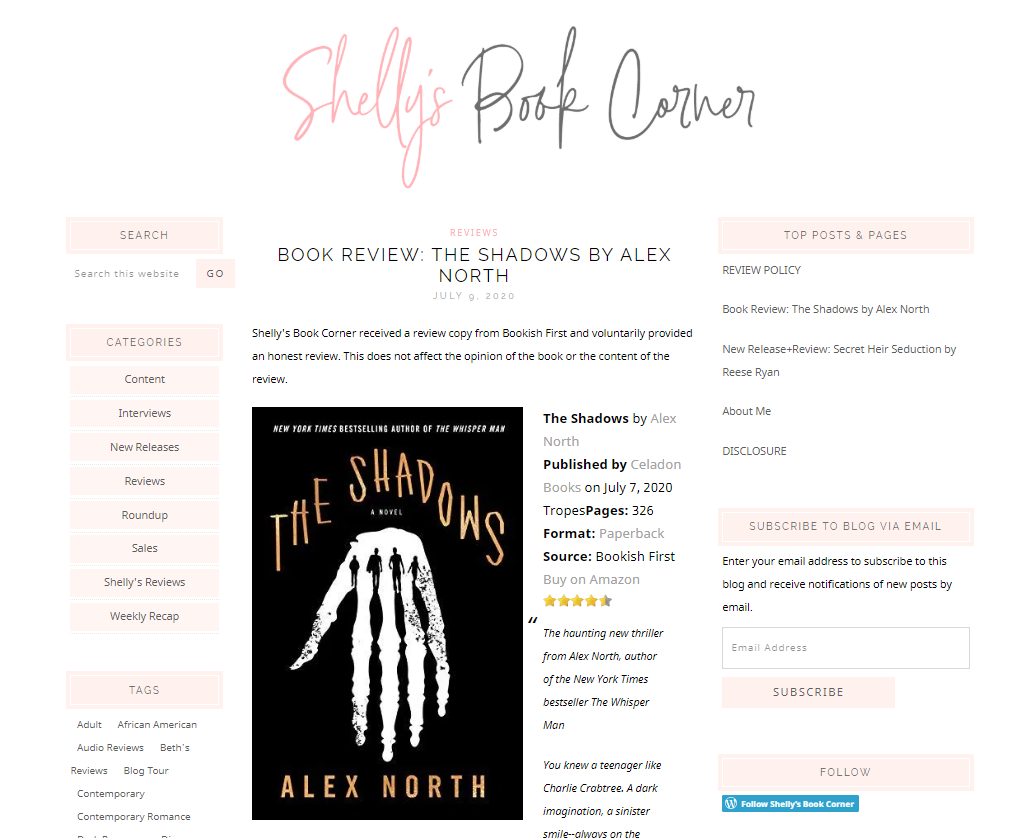 Shelly's Book Corner is an example of a book blog that covers many genres