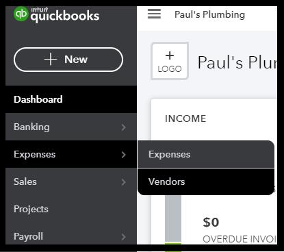 Vendor Center in QuickBooks Online