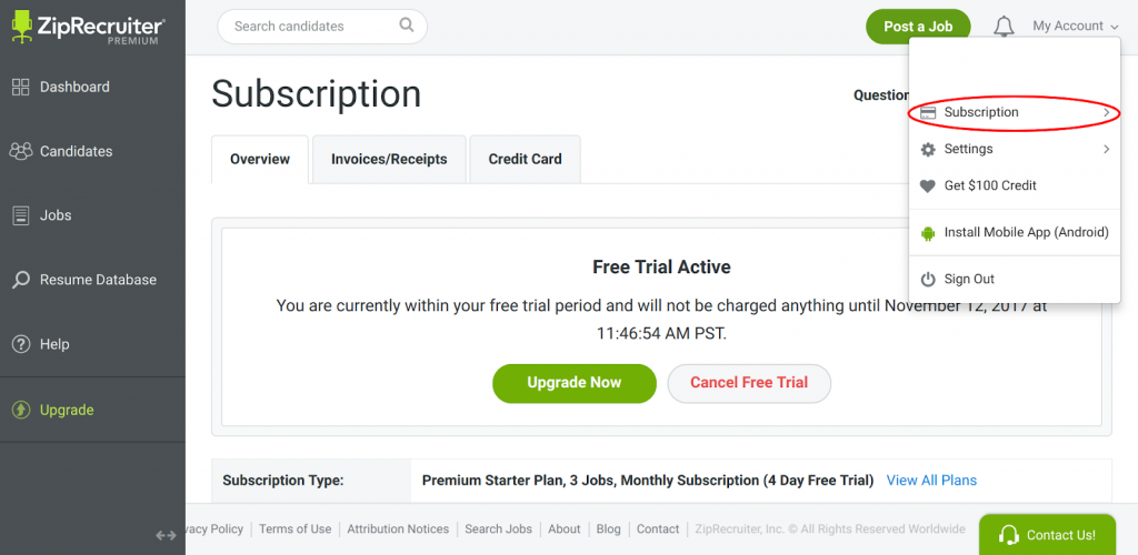 ziprecruiter free trial