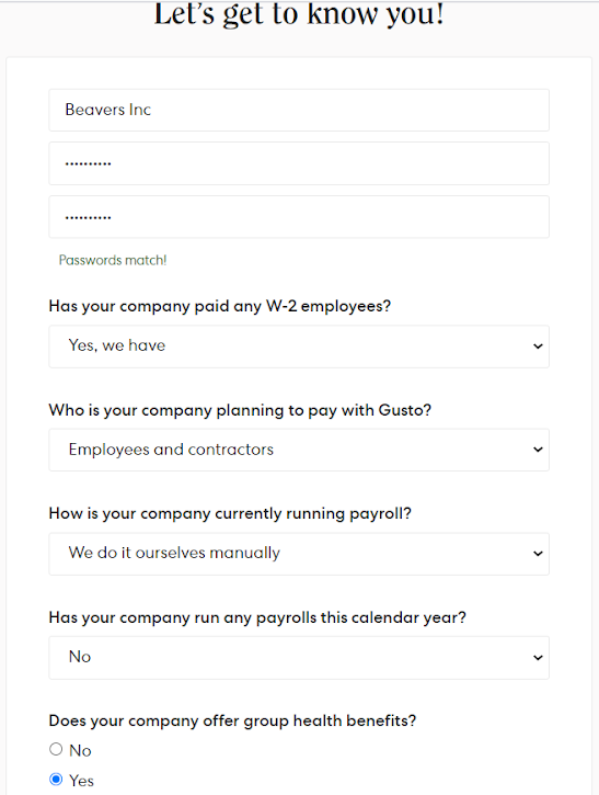 Create Your Account form