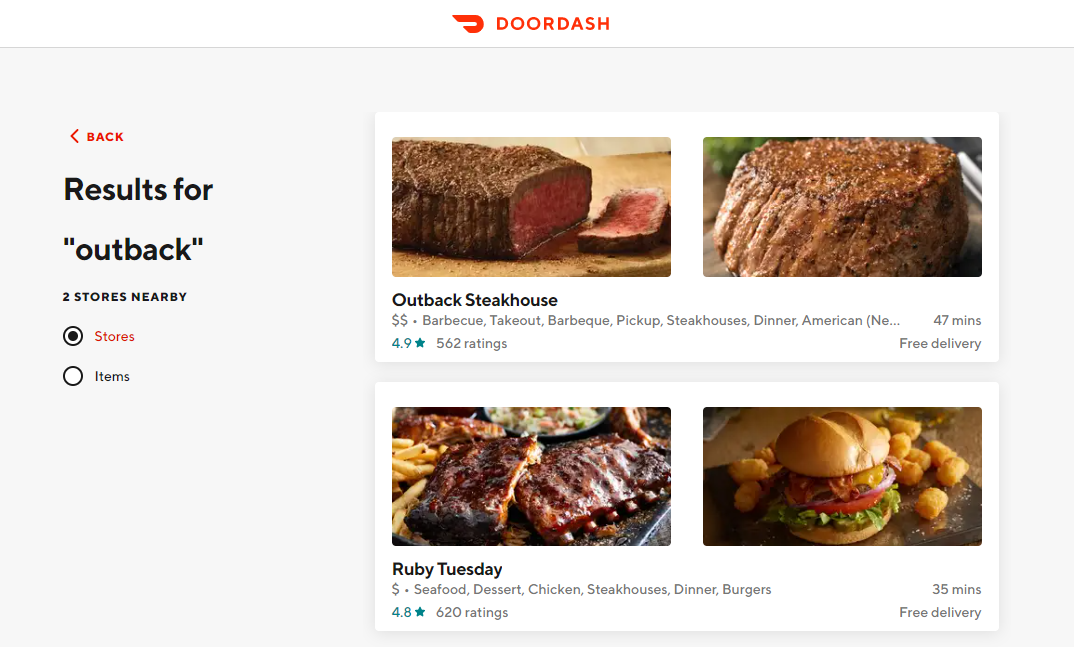doordash outback search food results