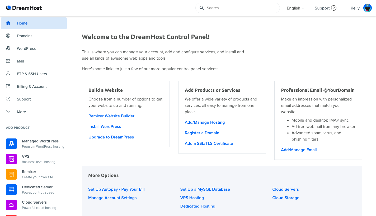 dreamhost control panel