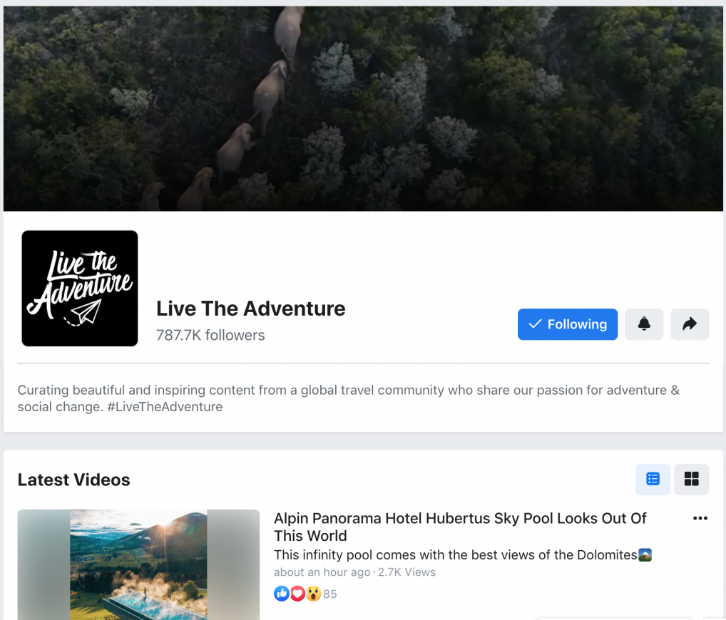 live the adventure video channel on facebook