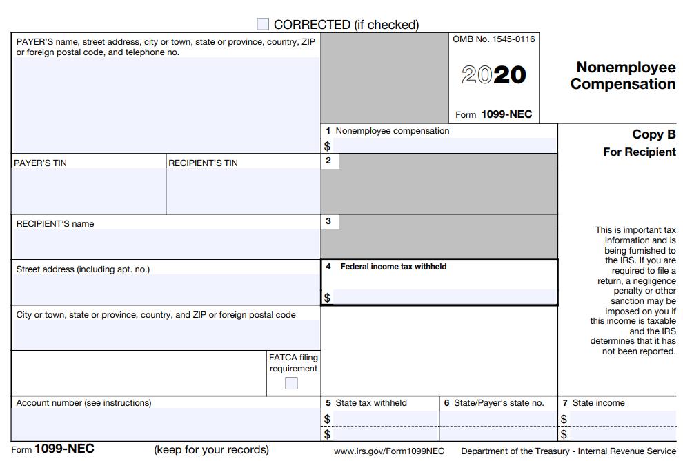 Form 1099-NEC - nonemployee compensation
