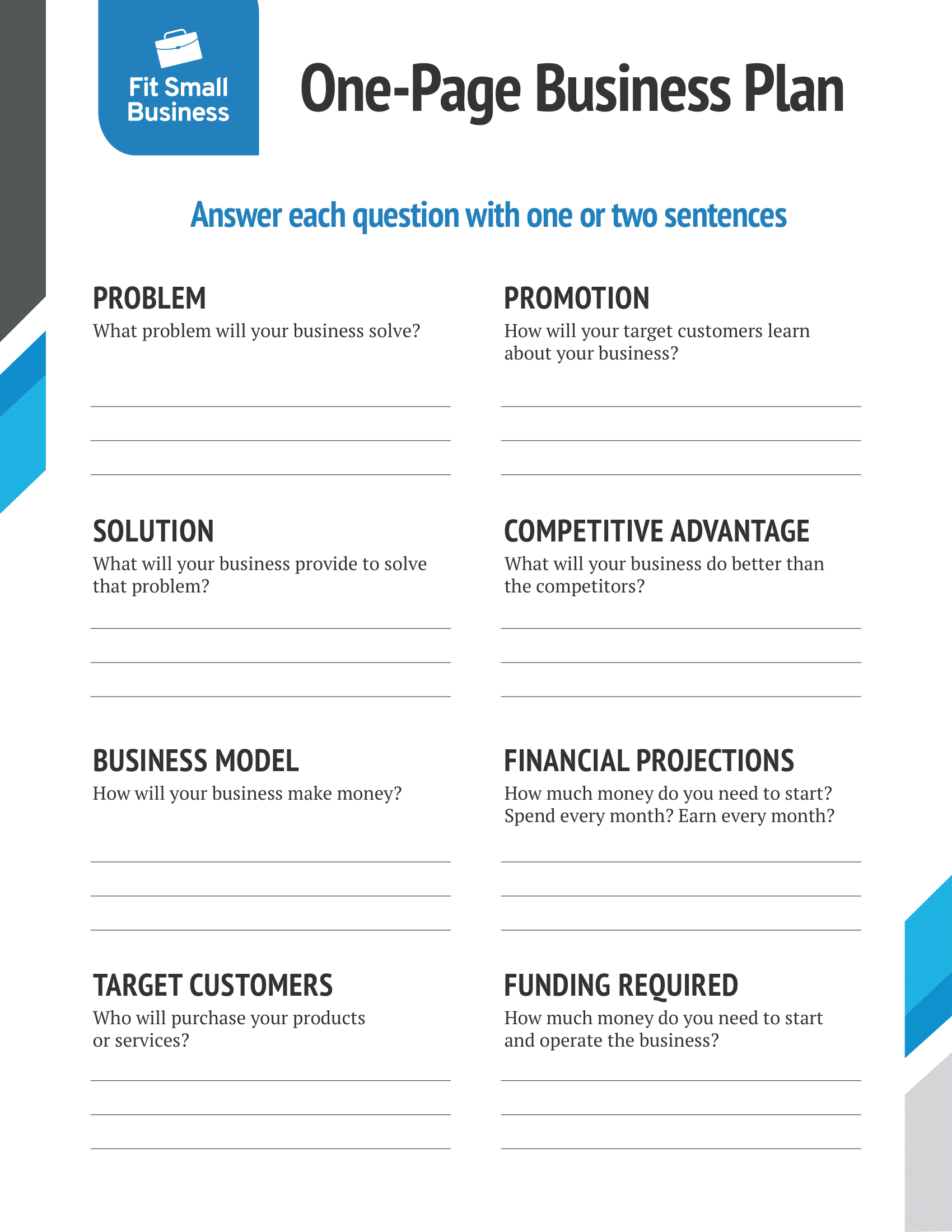 One-Page Business Plan