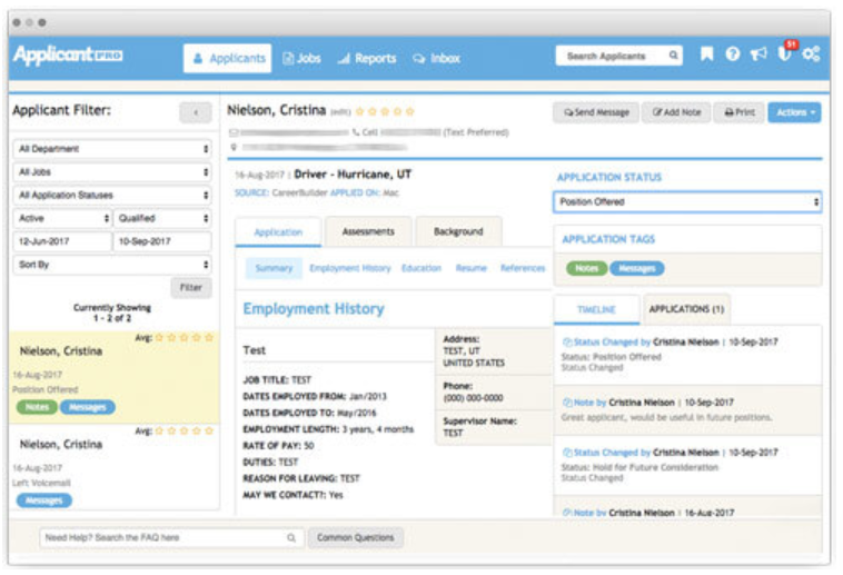 ApplicantPro applicant tracking and candidate management feature