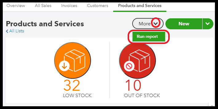 Run product and services list report in QuickBooks Online