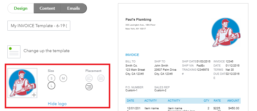 Preview the logo in your customized invoice
