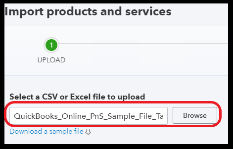 Select the File to Import Products and Services