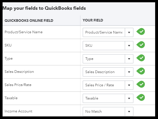 Map Spreadsheet Columns to QuickBooks Fields to Import