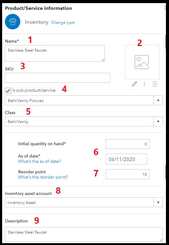 Inventory information in QuickBooks Online (1 of 2)