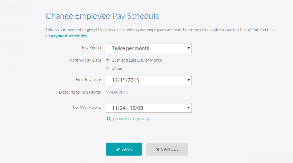 Change Employee Pay Schedule