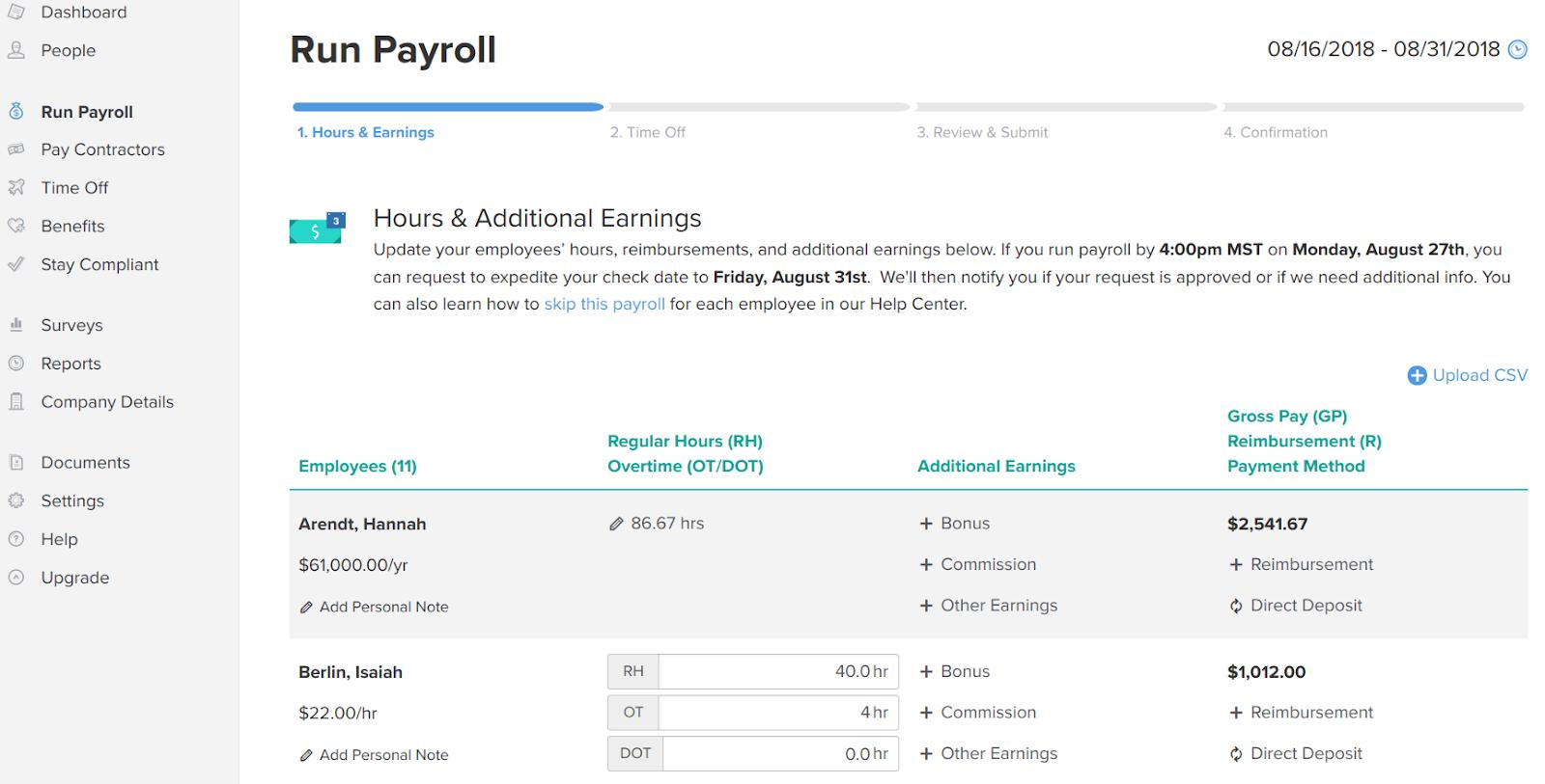 run payroll page