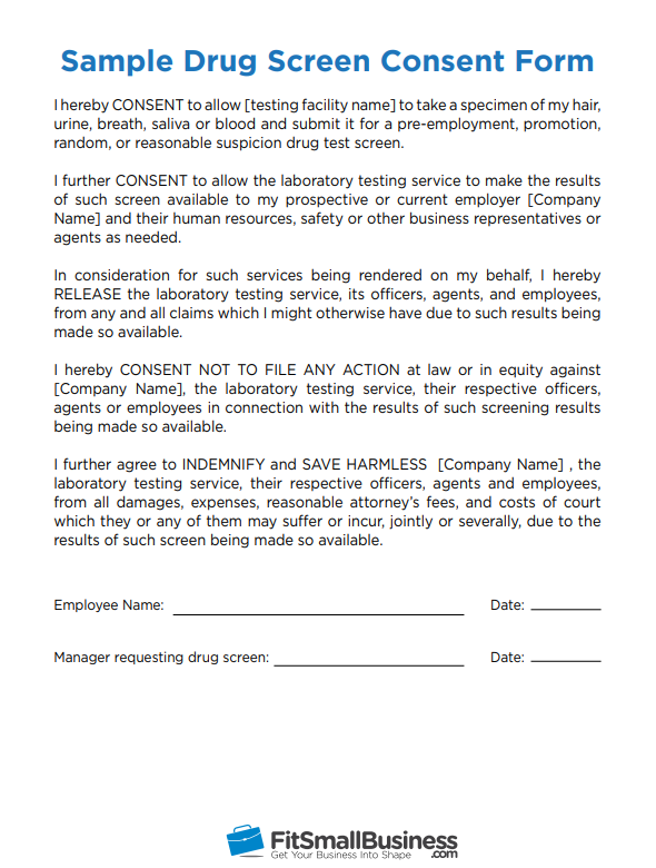pre-employment drug testing consent form for drug screen