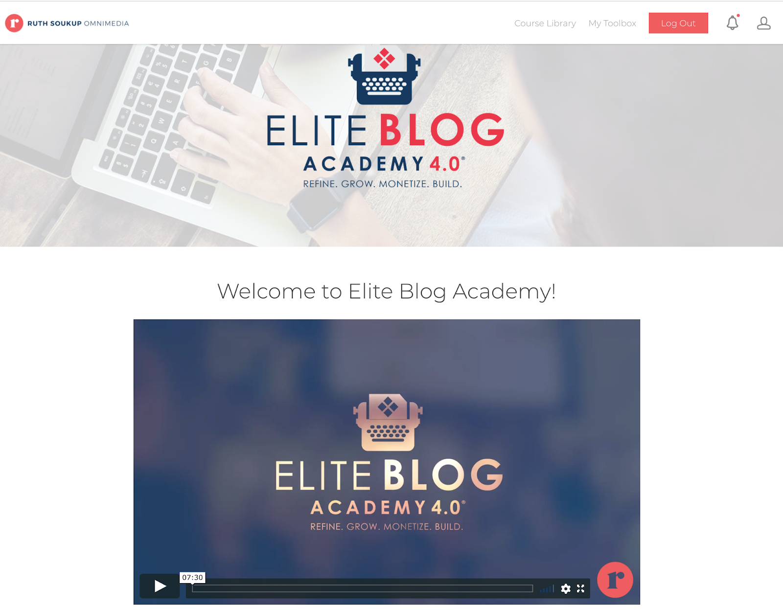 the introduction to Elite Blog Academy interface