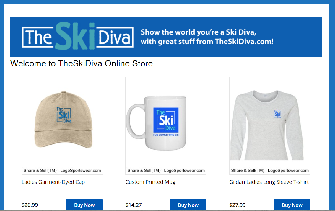 the ski diva online store interface