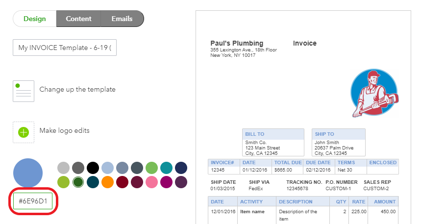 Add an HTML color code to choose a custom color for your invoice