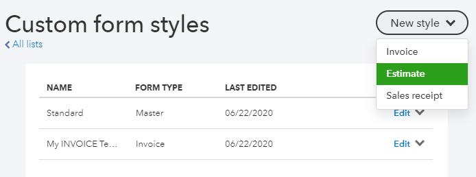 Create a customized Estimate template in QuickBooks Online